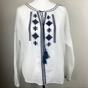 Loft Embroidered Long Sleeve Boho Top